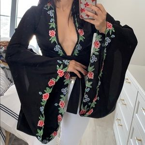 Nasty Gal Kimono Inspired Black Floral Crop Top